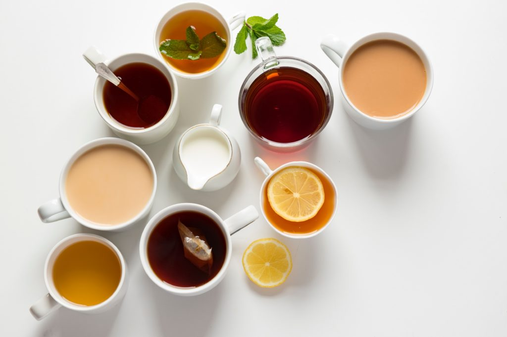 Array of teas as wellness products.